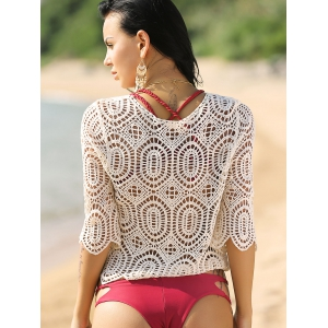 Hollow Out Crochet Cropped Cover-Up - WHITE ONE SIZE(FIT SIZE XS TO M)