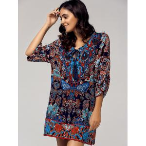 Vintage Style Scoop Neck 3/4 Sleeve Printed Dress For Women - COLORMIX L