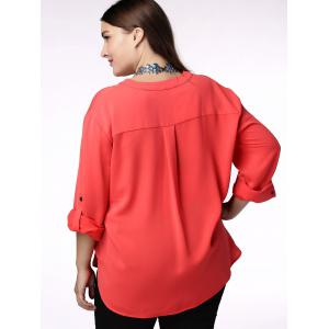Elegant V-Neck Solid Color 3/4 Sleeve Plus Size Blouse For Women -