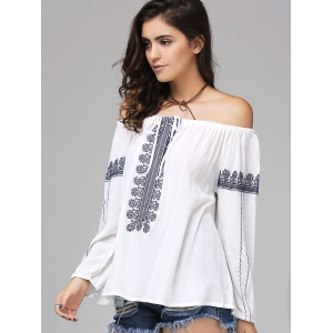 Ethnic Style Off The Shoulder Long Sleeve Blouse For Women -