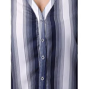 Simple Slimming V-Neck Pinstripe Print Blouse For Women -