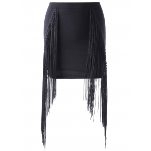 Fashionable Tassels Black Short Skirt For Women - Black - M