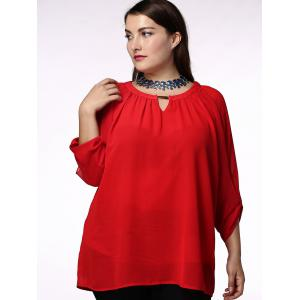 Fashionable Red Scoop Neck 3/4 Sleeve Pleated Blouse For Women - RED L