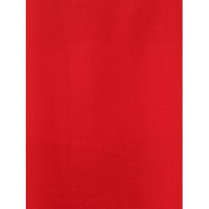 Fashionable Red Scoop Neck 3/4 Sleeve Pleated Blouse For Women -