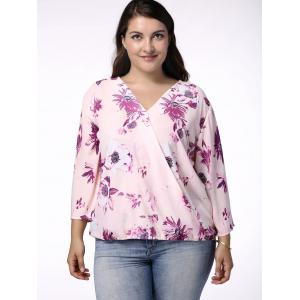 Sweet V-Neck 3/4 Sleeve Floral Printed Wrapped Blouse For Women - LIGHT PURPLE 5XL