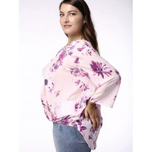 Sweet V-Neck 3/4 Sleeve Floral Printed Wrapped Blouse For Women -