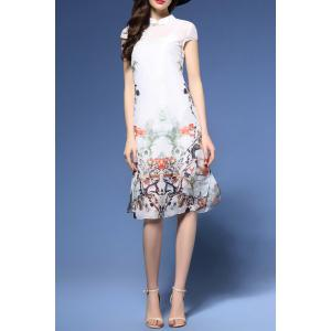 Ink Painting Qipao Dress in White -