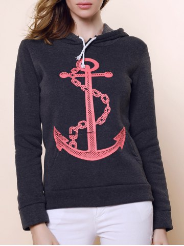 Casual Hooded Anchor Print Long Sleeve Hoodie For Women - BLACK GREY L