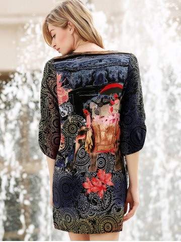 Chic V Neck Flower Ethnic Print 3/4 Sleeve Shift Dress - L COLORMIX Mobile