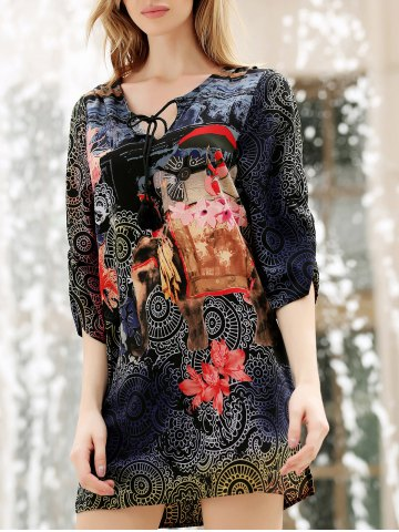Best V Neck Flower Ethnic Print 3/4 Sleeve Shift Dress - L COLORMIX Mobile