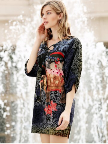 Cheap V Neck Flower Ethnic Print 3/4 Sleeve Shift Dress - L COLORMIX Mobile