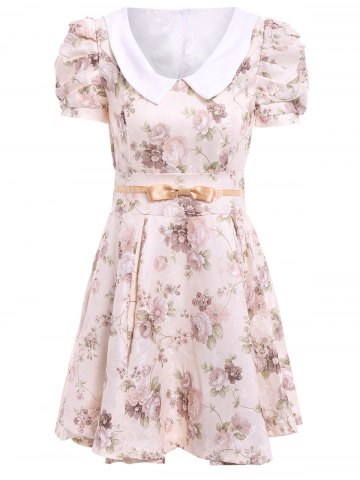 Fancy Vintage Peter Pan Collar Floral Print Bow Puff Sleeve Pleated Dress For Women OFF-WHITE M