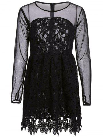 Best Stylish Round Collar Lace Floral Embroidery Long Sleeve Women's Dress - S BLACK Mobile
