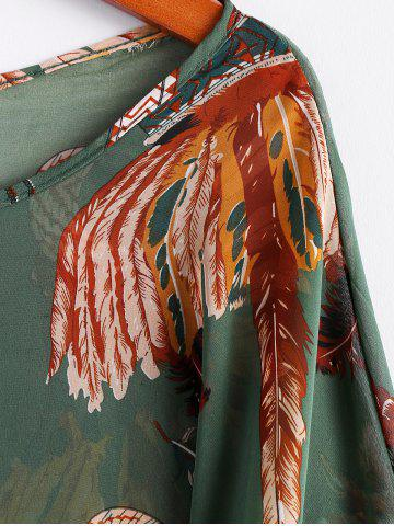 Fashion Batwing Sleeves Feather Print Casual Flowy Blouse - L GREEN Mobile