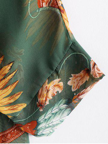 Outfit Batwing Sleeves Feather Print Casual Flowy Blouse - L GREEN Mobile