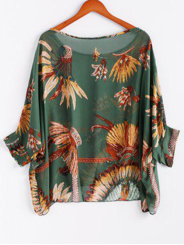 Affordable Batwing Sleeves Feather Print Casual Flowy Blouse - L GREEN Mobile