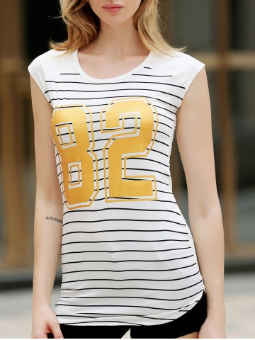 Shops Stylish Short Sleeve Striped Gilding Mini Dress For Women WHITE S
