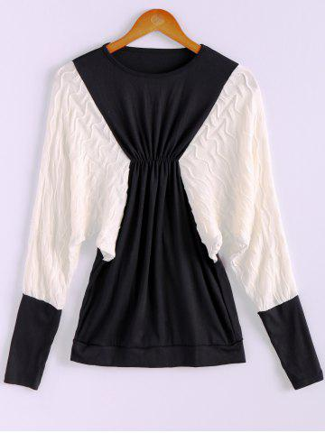 Outfits Plus Size Color Matching Batwing Long Sleeve Women's Sweater Dresses BLACK ONE SIZE