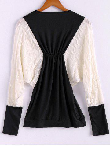 Fancy Plus Size Color Matching Batwing Long Sleeve Women's Sweater Dresses - ONE SIZE BLACK Mobile