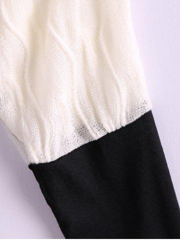 Buy Plus Size Color Matching Batwing Long Sleeve Women's Sweater Dresses - ONE SIZE BLACK Mobile