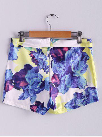 Cheap Stylish Mid-Waisted Zippered Bodycon Printed Culottes Shorts - M WHITE AND PURPLE Mobile