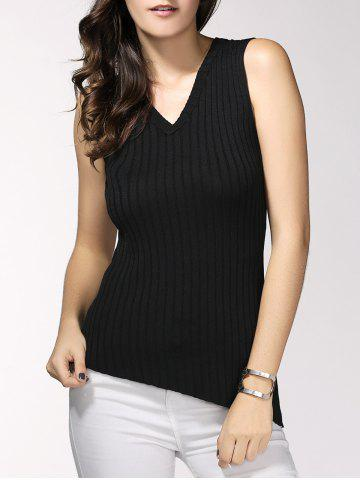 Store Simple Design V-Neck Ribbed Knit Tank Top For Women