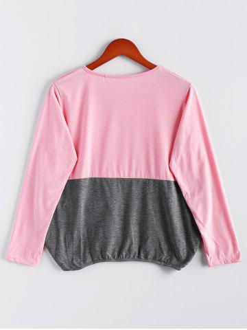 Chic Scoop Neck Color Matching Long Sleeved Women's T-Shirt - M PINK Mobile