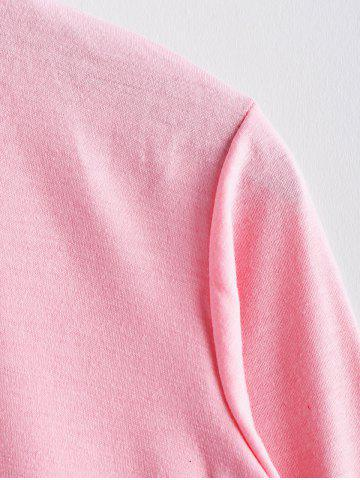 Discount Scoop Neck Color Matching Long Sleeved Women's T-Shirt - M PINK Mobile