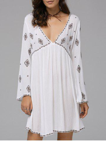 Outfit Fashionable Plunging Neck Long Sleeve Embroidered Dress For Women