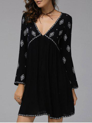Fashionable Plunging Neck Long Sleeve Embroidered Dress For Women - Black - M