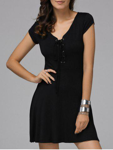 Affordable Trendy Plunging Neck Short Sleeve Lace Up Dress For Women