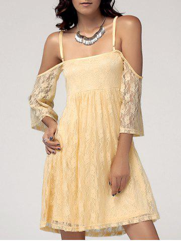 Fashion Sweet Spaghetti Straps Cold Shoulder Lace Dress For Women