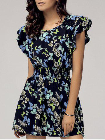 Discount Stylish Scoop Neck Cap Sleeve Butterfly Print Dress For Women