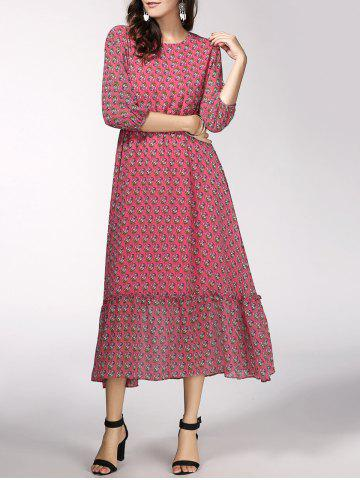 Online Casual Jewel Neck 3/4 Sleeve Floral Print Chiffon Dress For Women