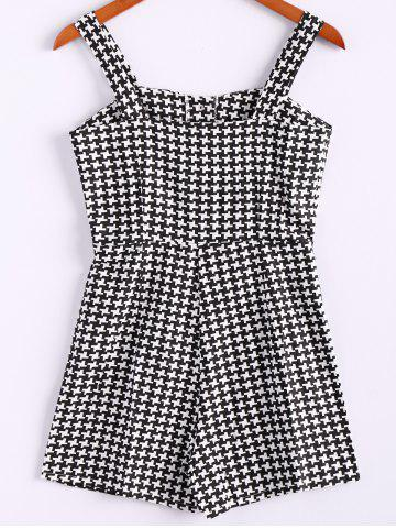 Unique Spaghetti Strap Checked Sleeveless Fashionable Style Polyester Women's Jumpsuit BLACK M