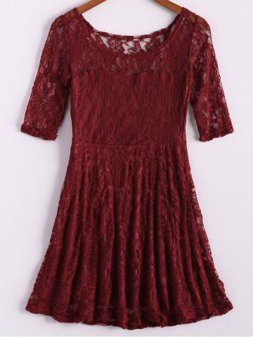 Online Ladies Round Neck 3/4 Sleeve Lace Dress