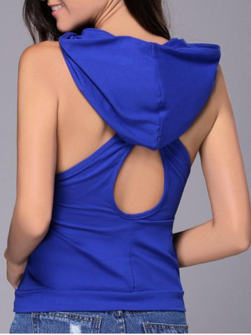 Chic Women's Hooded Sleeveless Pure Color Cut Out Tank Top - Blue - M
