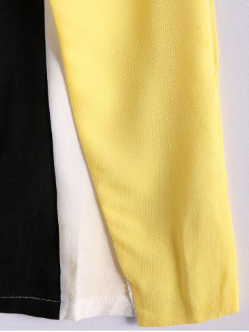 Affordable Color Block Scoop Neck Sleeveless Pleated Refreshing Style Chiffon Women's Dress (Without Belt) - L YELLOW Mobile