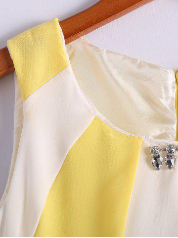 Latest Color Block Scoop Neck Sleeveless Pleated Refreshing Style Chiffon Women's Dress (Without Belt) - L YELLOW Mobile