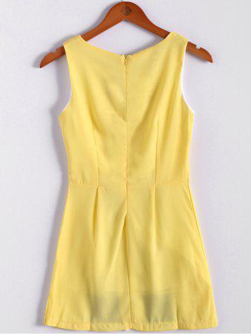 Chic Color Block Scoop Neck Sleeveless Pleated Refreshing Style Chiffon Women's Dress (Without Belt) - L YELLOW Mobile