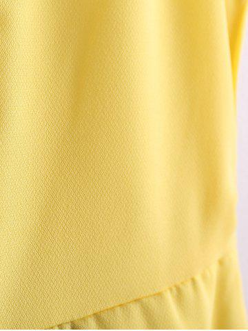 New Color Block Scoop Neck Sleeveless Pleated Refreshing Style Chiffon Women's Dress (Without Belt) - L YELLOW Mobile
