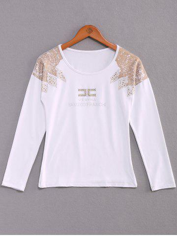 Shop Stylish Scoop Neck Long Sleeves Rhinestoned Flocking T-Shirt For Women WHITE S