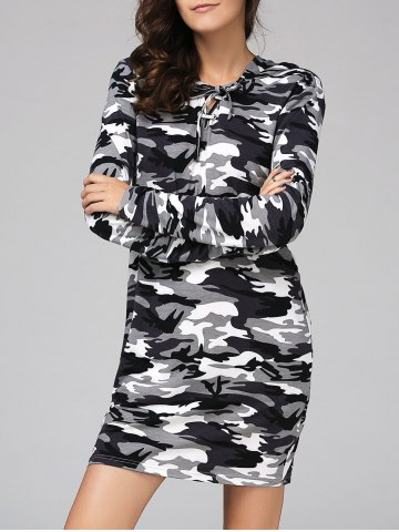 Chic Camouflage Hooded Long Sleeve Shift Dress