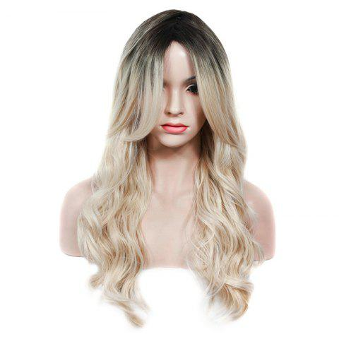 Discount Fashion Black Ombre Light Blonde Synthetic Fluffy Wave Long Middle Part Wig For Women COLORMIX