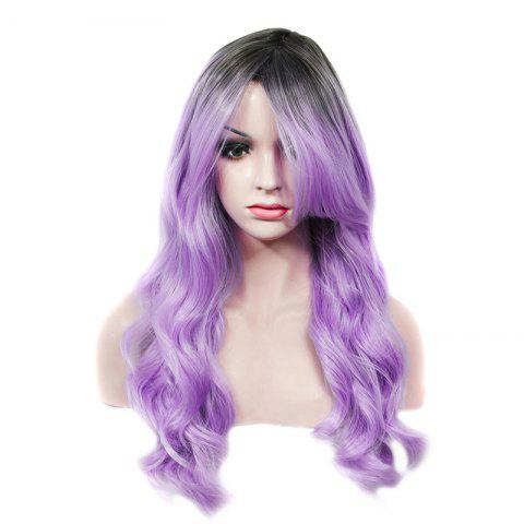 Affordable Stylish Long Rooted Black Ombre Lilac Capless Shaggy Wave Synthetic Wig For Women BLACK/PURPLE