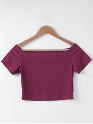 Cheap Contracted Flat Shouders Slim T-Shirt For Women WINE RED S