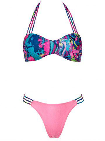Chic Halter Hollow Out Lace Up Bikini Set PINK XL