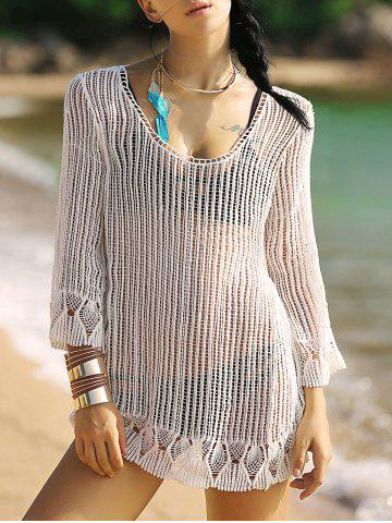 Chic Alluring 3/4 Sleeve Hollow Out Fringed Women's Cover-Up