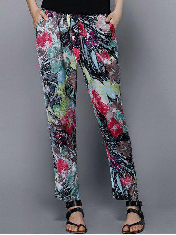 Online Stylish Drawstring Floral Print Pants For Women