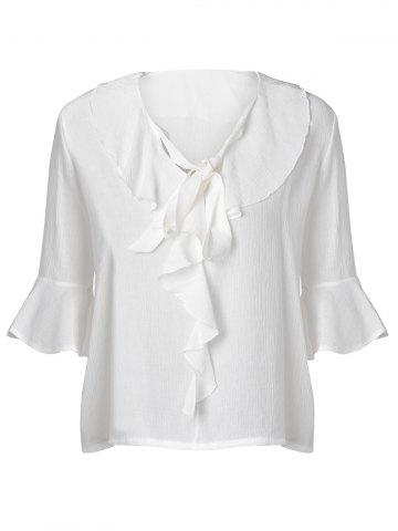 Shops Elegant Loose-Fitting Flounce Tie Chiffon 3/4 Sleeve Blouse For Women